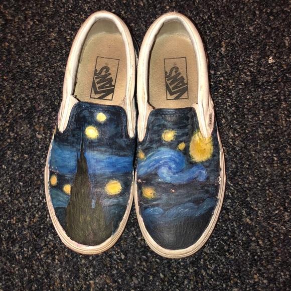 Painted Starry Night Vans   Poshmark